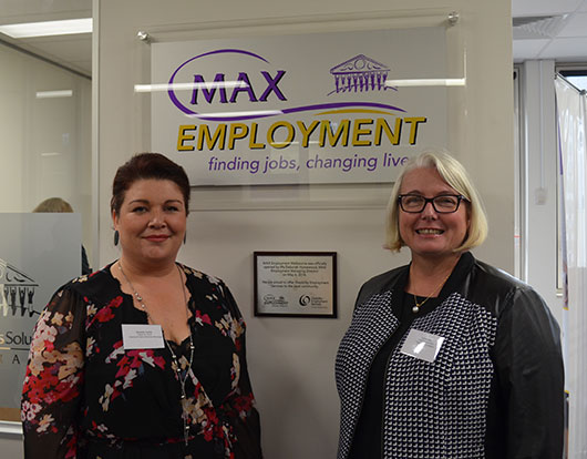 Fitted For Work National Client Services Manager, Amanda Carlile with MAX Employment Director of Operations, Leisa Hart.