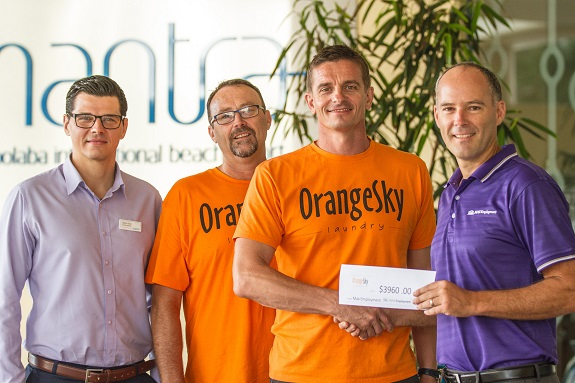 The Orange Sky Crew with Mantra Mooloolaba General Manager Fabrice Grau and MAX  Regional Manager Aaron Papas