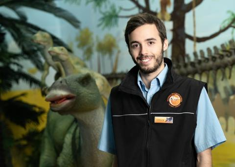MAX Solutions customer Connor at Canberra Dinosaur Museum.